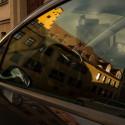 Stadt im Autofenster