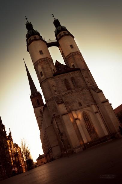 Marktkirche zum Sonnenuntergang