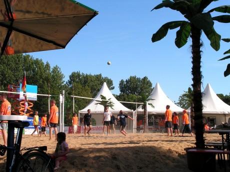 Beachvolleyball unter Palmen